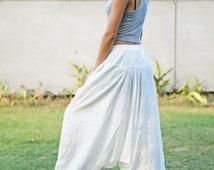 White Harem Pants Thai Pants, Rayon Pants, Boho Strenchy Pants, Elastic Waist Clothing Beach Women Baggy Casual Trouser W900719