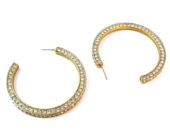 Signed Kenneth Jay Lane Crystal Encrusted Hoop Earrings c.1980's