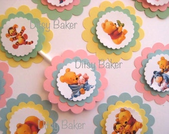 Baby Pooh and Friends Cupcake Toppers - set of 12