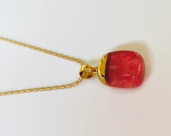 Watermelon agate necklace gold dipped agate necklace gold dipped gemstone pendant gemstone necklace druzy necklace layering necklace