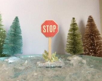 Miniature glittered Christmas village stop sign, miniature village accessory