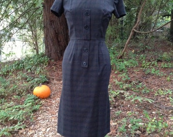 Vintage 1960's Brown Plaid Dress * Size Small