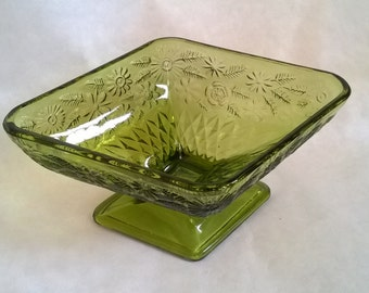 Vintage Olive Green Diamond Shaped Candy Dish