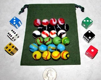 """MO-Marbles Six Player 5/8"""" Rainbow Aggravation Wahoo Glass Marbles Game Set"""
