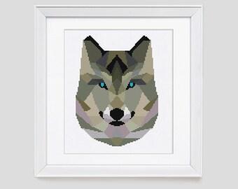 Gray fox cross stitch pattern, fox counted cross stitch pattern, modern fox cross stitch pattern, fox counted cross stitch pdf pattern
