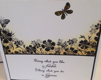 "Flower silhouette card 6"" x 6"""