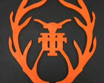 College Antler Decoration! Man Cave friendly! You choose the size! 6,8, or 10 Inches!
