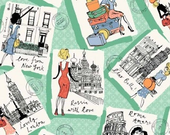 Makower Postcards Fabric from the Vacation Range 100% Cotton