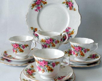 Beautiful Pink and Grey Floral Part Set from Vale Bone China, c 1960