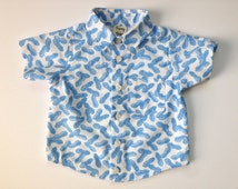 Toddler Boy's Short Sleeve Button-up Shirt - Tiny Blue Peanuts - Made to Order
