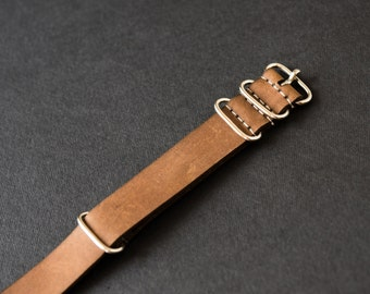 Premium leather watch strap, brown watch strap, leather watchband, handmade