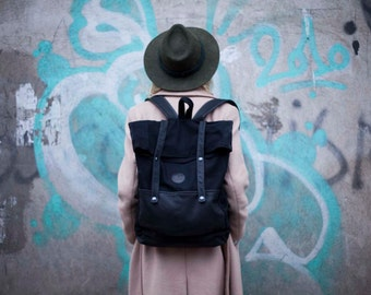 Black organic cotton and leather backpack