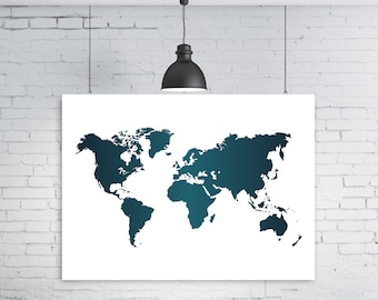 Navy blue world map, Navy blue map, Blue world map, Printable world map, World map, World map poster, Instant download, World map print