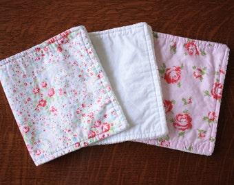 Pink Floral burp cloths - Baby girl burp cloths - Shabby chic burp cloths - Baby girl gift