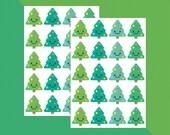 Smiling Christmas Tree Stickers x 48 // Teacher Stickers