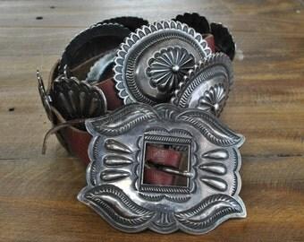 Vintage Navajo Sterling Silver Concho Belt