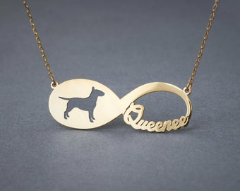 14k Solid Gold Personalised INFINITY BULL TERRIER Necklace - 14k Gold Bull Terrier Necklace - Name Necklace