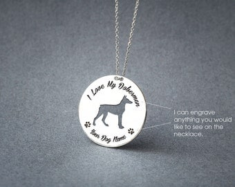 Personalised DISC DOBERMAN Necklace / Circle dog breed Necklace / Doberman Dog necklace / Silver, Gold Plated or Rose Plated.