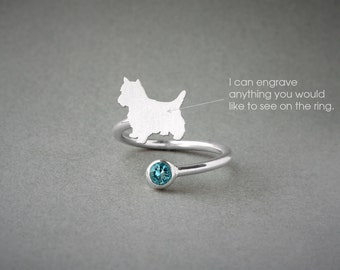 Adjustable Spiral YORKSHIRE TERRIER BIRTHSTONE Ring / Yorkie Birthstone Ring / Birthstone Ring / Dog Ring