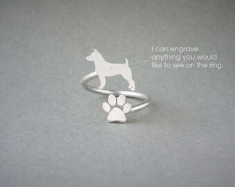Adjustable Spiral JACK RUSSELL  and PAW Ring / Jack Russell Ring / Paw Ring /Dog Ring / Silver, Gold Plated or Rose Plated.