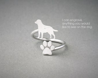 Adjustable Spiral LABRADOR and PAW Ring / Labrador Ring / Paw Ring /Dog Ring / Silver, Gold Plated or Rose Plated.