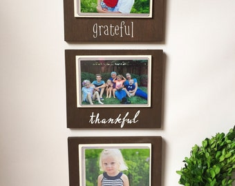 Picture Frame Set - Grateful Thankful Blessed - Rustic Frame - Rustic Home Decor - Wood Frame - Wood Signs - Rustic Wall Decor - Farmhouse