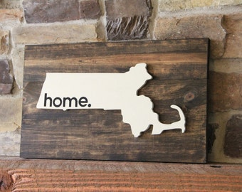Massachusettes Wall Art - Rustic Home Sign - Home Sign - Rustic Wall Decor - Home State Sign - Massachusetts Sign - Wood Signs -Housewarming