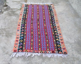 Vintage Turkish Kilim Rug  Vintage Rug  Wedding Rug   6.4'  x  3.5' feet
