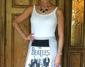 Beatles tshirt skirt, handmade from upcycled t-shirts, womens large