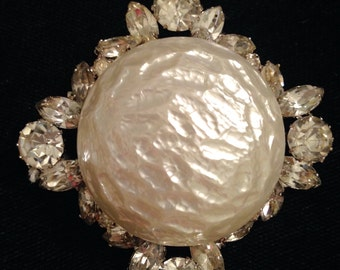 Rhinestone and pearl brooch