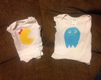 Twin Pacman and Ghost Inspired Onesies