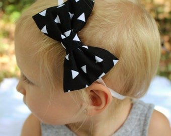black with white triangles bow headband