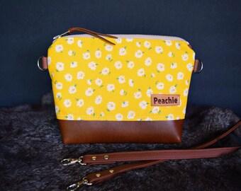 Ready to ship floral crossbody bag, vegan leather crossbody purse, fall crossbody bag, fall purse, floral bag, leather crossbody, autumn