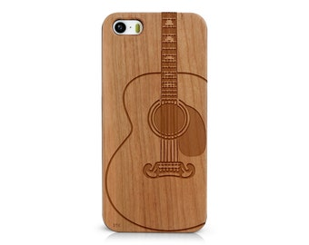 Laser Engraved Acoustic Guitar Rock Country Musical Instrument Wood phone Case for Apple iPhone IP-054
