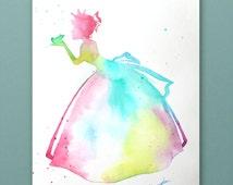 Original Tiana Disney princess watercolor hand-made. Art Print, birthday gift, princess print, Disney, nursery, Tiana princess, baby room
