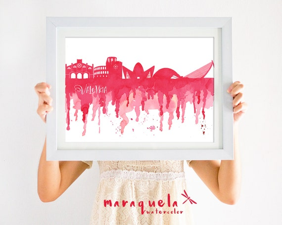 VALENCIA Skyline Spain, RED hues illustration in watercolor, skyliner Valencia trip Spain artprint, poster gift decoration city Espagna art