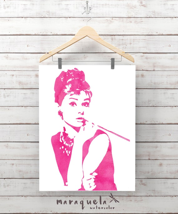 PINK Audrey Hepburn silhouette illustration, watercolor. Audrey Hepburn Poster, art print, Wall art bedroom art, wall art, fashion decor art