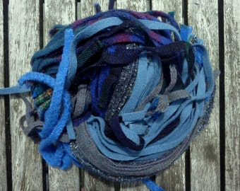Reused Wool Strips for Rug Hooking - Blue Blend