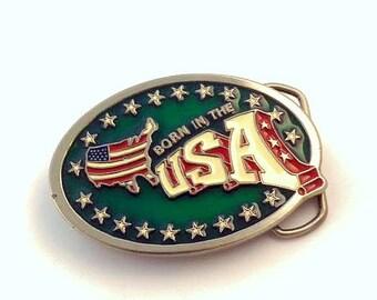 Vintage Enamel On Pewter Born In The USA Belt Buckle