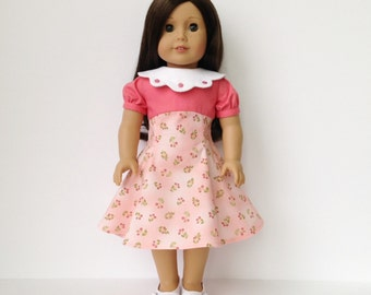 American Girl Doll Vintage Empire Waist Dress with removable collar