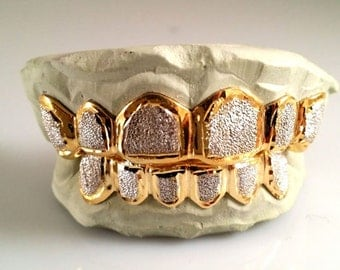Custom 10K 14K Gold Plated Grillz Bullet Punchout Style Silver Top & Bottom