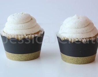 Cupcake Wrappers - Black and Gold Cupcake Wrappers - Black and Gold Party Decor - 40th Birthday Party Decorations