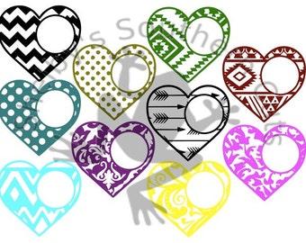 10 Heart Monogram SVG files