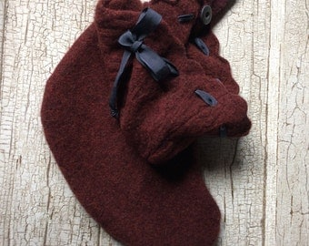 Christmas stocking/deep wine felted wool sweater stocking/eco friendly repurposed sweater