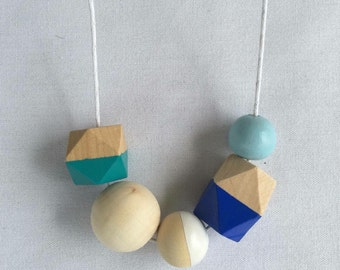 Wooden bead necklace // blue, turquoise and white // hand painted