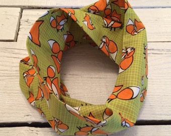 MINI Fox LIME, infinity scarf for baby or child
