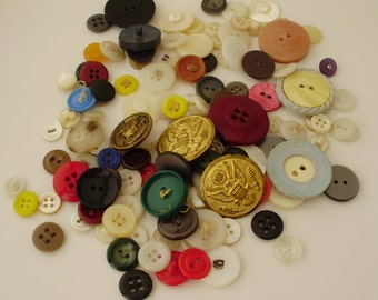 Collection / Lot of Buttons. Metal Buttons. Plastic Buttons. Old Buttons. Sewing Supply. Craft Supply. Vintage Buttons.