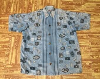 Rare vintage 50s Duke Kahanamoku Champion Made By Cisco Rayon Hawaii Aloha Shirt Coin Button M Size