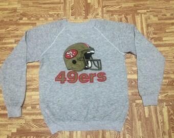 Vintage 80s San Franciscos 49ers Sweatshirt Tri Blend Cotton Rayon Acrylic Heather Gray Medium Size Adult