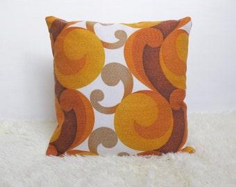"Retro Cushion Cover, Genuine Original 60s/70s Fabric,16x16"" Vintage Orange Geometric VW"